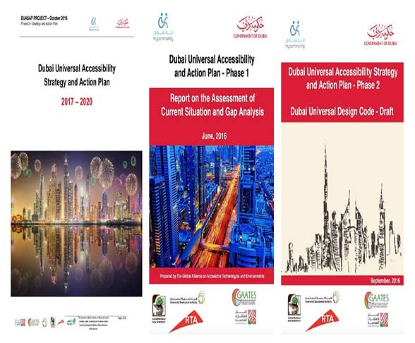 A cover page for all the phases of dubai universal accessibility and action plan.